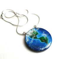 World Map Necklace, Planet Earth Pendant, Global Travel Wooden Jewelry, Globe World Necklace, Hand Painted Planet Pendant, Earth Necklace