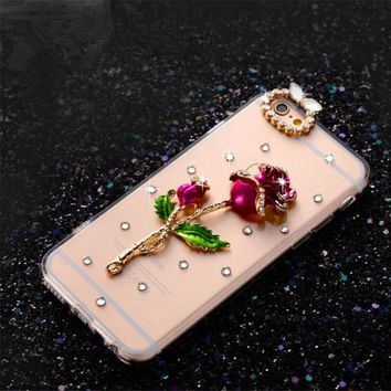3D Bling Crystal Diamond Bowknot Rose Peacock Beautiful Girl Phone Cases for iPhone 4s 5s SE 5C 6s plus 7 plus Cover