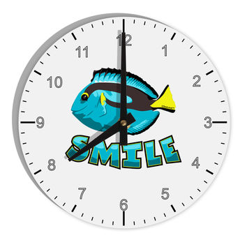 "Blue Tang Fish - Smile 8"" Round Wall Clock with Numbers"