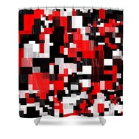 Red Black Checker Pattern Shower Curtain