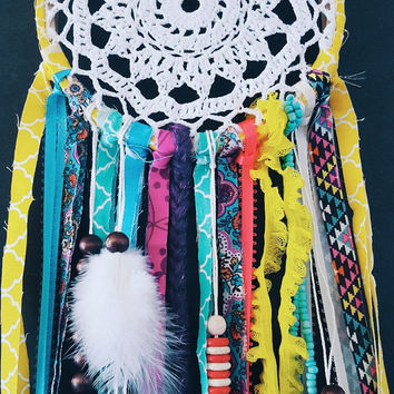 Bohemian Dream Catcher - Doily Dream Catcher - Gypsy Dream Catcher - Colorful Dream Catcher - Hippie Dream Catcher - Crochet Dream Catcher