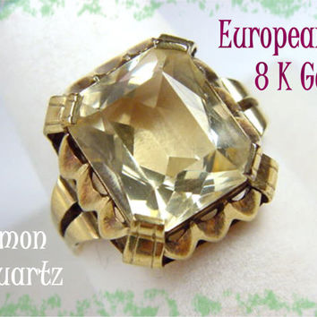8K Gold - European Art Deco - Light Lemon 8 Ct Quartz Ring - FREE SHIPPING