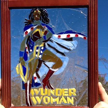 Stained Glass Wonder Woman Window Art Sun Catcher, Comic Con, Superhero, Unique Gift Idea, Christmas gift, Birthday, Housewarming, Wedding
