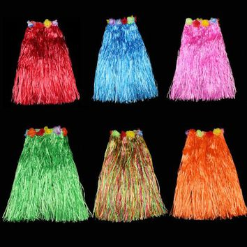 DKF4S 40CM Children Adult Hula Show Grass Beach Dance Activity Skirt Wreath Bra Garland Fun Hawaiian Party Decorations Supplies Dress