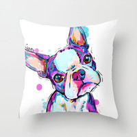 Boston terrier Throw Pillow by Cartoon Your Memories