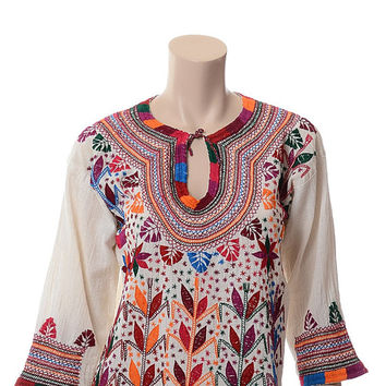 Vintage 60s 70s Embroidered Flowers Mexican Gauze Top 1960s 1970s Hippie Festival Floral Hand Embroidery Tunic Blouse Boho Gypsy Shirt