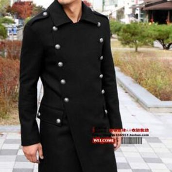 Men's Slim Woolen Outerwear Men's Plus Size Vintage Wool Long Design Jacket Coat Clothing Dress ! S-5XL free shipping