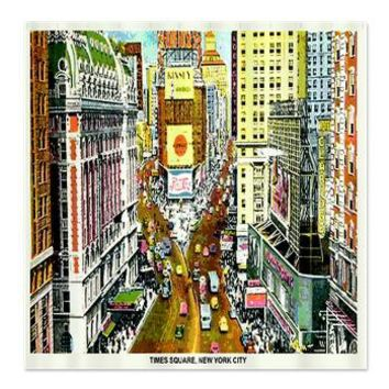NY Times Square Postcard Shower Curtain> Coastal, Vintage and Urban Chic Shower Curtains> Rebecca Korpita Coastal Design