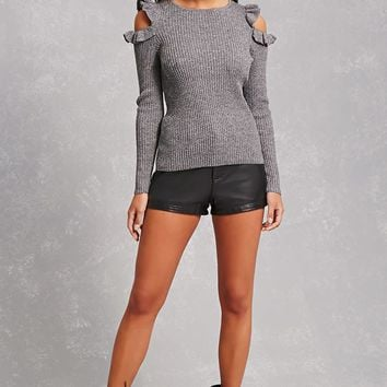 Open-Shoulder Ribbed Sweater