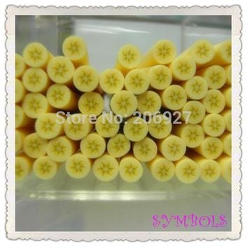 5pcs A-20 5mm Cute Round Banana Fruit Cane Fancy Nail Art Polymer Clay Cane Nail Art Decoration