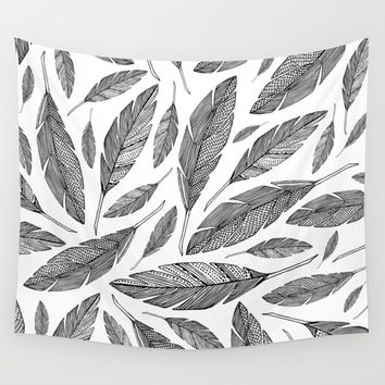 Float Like A Feather - White Wall Tapestry by Heather Dutton
