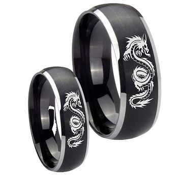 His Her Matte Dome Dragon Design Two Tone Tungsten Carbide Wedding Rings Set