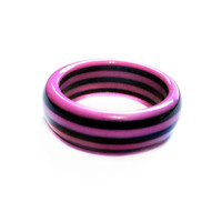 Striped Lucite Plastic Ring, Black / Pink