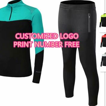Men' trainning sets men semi zipper  tracksuits  adult sports suits running uniforms male jackets and pants winter clothing
