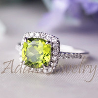 Febulous Halo 8mm Cushion Cut  Peridot Ring Solid 14K  White Gold SI Diamonds Engagement Ring/ Wedding Ring/ Promise Ring/ Anniversary Ring