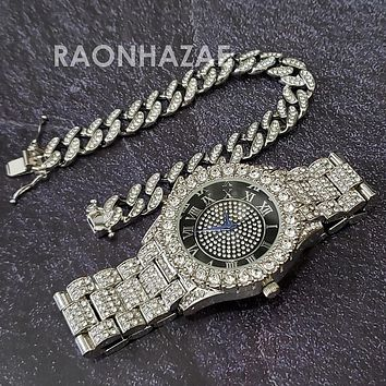 Raonhazae Hip Hop Iced Lab Diamond Drake 14K White Gold Plated Watch with 12mm Cuban Link Bracelet Set
