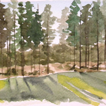 Finnish pine forest. Pine tree art. Original watercolor painting. Nature art from Finland. Shadows of trees.