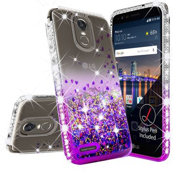 LG Stylo 3 Case, LG Stylus 3 Case Liquid Glitter Phone Case Waterfall Floating Quicksand Bling Sparkle Cute Protective Girls Women Cover for Stylo 3/Stylus 3 - Purple