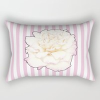 Pale Rose on Stripes Rectangular Pillow by drawingsbylam