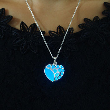 Glow in the dark Jewelry, 'Glow- in- the- dark' Necklace, Glowing Necklace, Sterling silver plated necklace, Heart necklace, Glowing pendant