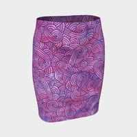 Neon purple and pink swirls doodles Fitted Skirt Fitted Skirt