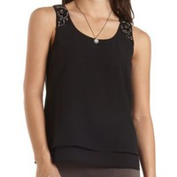 Embellished Crepe and Chiffon Tank by Charlotte Russe