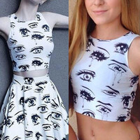 Eyes and Tears Pattern Tight Crop Top