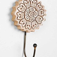 Plum & Bow Woodblock Flower Hook- White One
