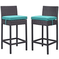 Turquoise Lift Bar Stool Outdoor Patio Set of 2