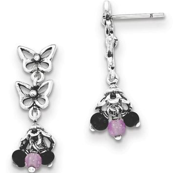925 Sterling Silver Antiqued Glass Bead Butterfly Post Dangle Earrings