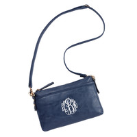 Navy Blue Bree Crossbody Purse with Initial, Monogram or Blank. Leather Like.