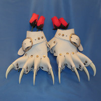 White Wedding Claw Gauntlets / Gloves Gothic Steampunk