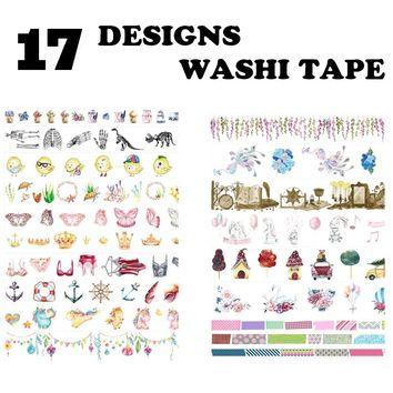 17Design NEW Flowers/Cake/Peacock/Dinosaurs/Sea creatures/Bras Japanese Washi Decorative Adhesive DIY Masking Paper Tape Sticker