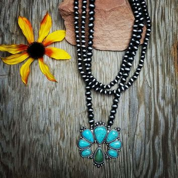 Natural Stone Layered Squash Blossom Necklace