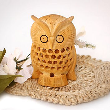 Mom and Me - Wooden Mother Owl with Baby inside - Owl Decor Figurines & Statues Sale - Owl Gifts and Decorations - Decorative Centerpiece - Animal Arts and Crafts by SouvNear
