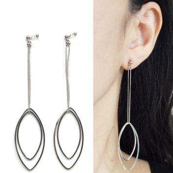 Dangle Silver Oval Hoop Invisible Clip On Earrings, Dangle Clip On Hoop Earrings, Non Pierced Earrings, Long Hoop Earrings, Gifts For Women