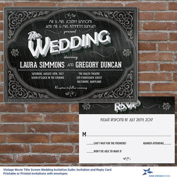 Vintage Movie Title Screen Wedding Stationery Set; Invitation and Reply Card; Printable or Printed (US Only) Invitations