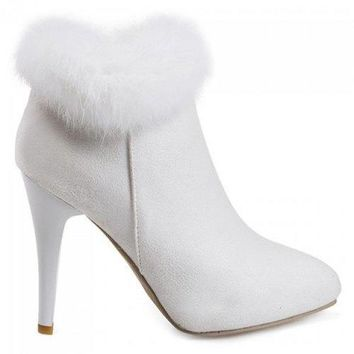 Stiletto Heel Pointed Toe Suede Ankle Boots - White 38