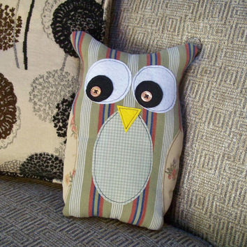 Whooty Owl - Plush Owl Pillow Doll - Handmade by Me - Earthy Colors, Recycled Fabrics