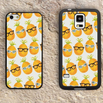 Cute Glasses Pineapples iPhone Case-iPhone 5/5S Case,iPhone 4/4S Case,iPhone 5c Cases,Iphone 6 case,iPhone 6 plus cases,Samsung Galaxy S3/S4/S5-269