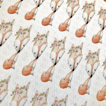 Baby fox floral crown faux leather fabric sheet