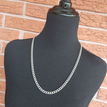 Le Boy - Sleek Stainless Steel Flat Curb Chain Necklace