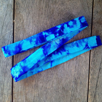 "Turquoise-Sky Blue Tie Dye 5/8"" Fold Over Elastic"