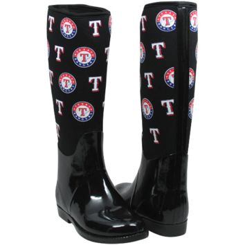 Texas Rangers Cuce Shoes Women's Enthusiast II Rain Boots – Black