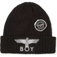 BOY LONDON - BOY Eagle appliqué knitted beanie | Selfridges.com