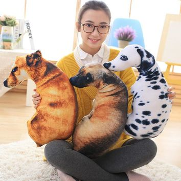 CAMMITEVER 3D Dog Tiger Stuffed Bed Pillow Plush Toy Play Doll PP Cotton Throw Pillows Filled Cushion For Children Kid Boy Girl
