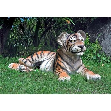 SheilaShrubs.com: The Grand-Scale Wildlife Animal Collection - Lying Down Bengal Tiger Cub Statue NE80148 by Design Toscano: Garden Sculptures & Statues