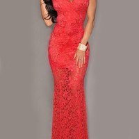 Red Sheer Lace Deep V-Neckline Open Back Mermaid Dress
