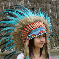 Indian Turquoise and dark green Feather Headdress