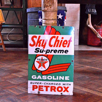Original Porcelain Texaco Sky Chief Pump Plate Sign, Vintage Gas Service Station Sign, Gas and Oil Advertising